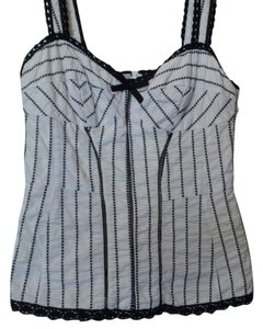Nanette Lepore Anthropologie Embroidered Fitted Small Top Black & white