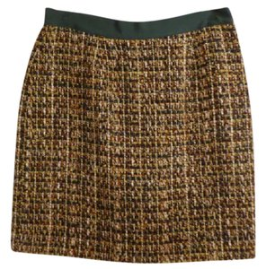 Kate Spade Pencil Tweed Plaid Tan Skirt Green