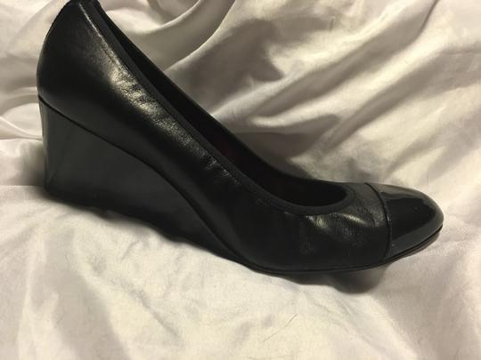 French Sole Leather Patent Leather Black Wedges Image 1