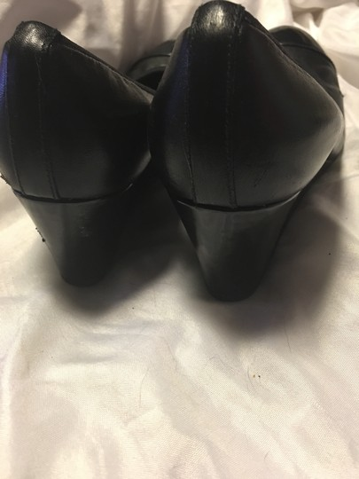 French Sole Leather Patent Leather Black Wedges Image 2