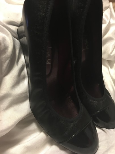 French Sole Leather Patent Leather Black Wedges Image 5