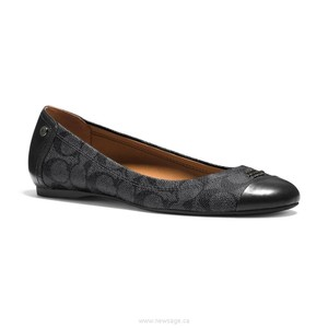 Coach Logo Signature Black Flats