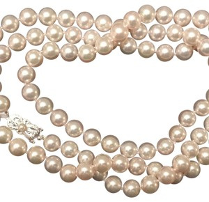 Mikimoto Certified Estate Large 8.5-8 mm 35 inch Akoya Saltwater 18 KT YG Clasp