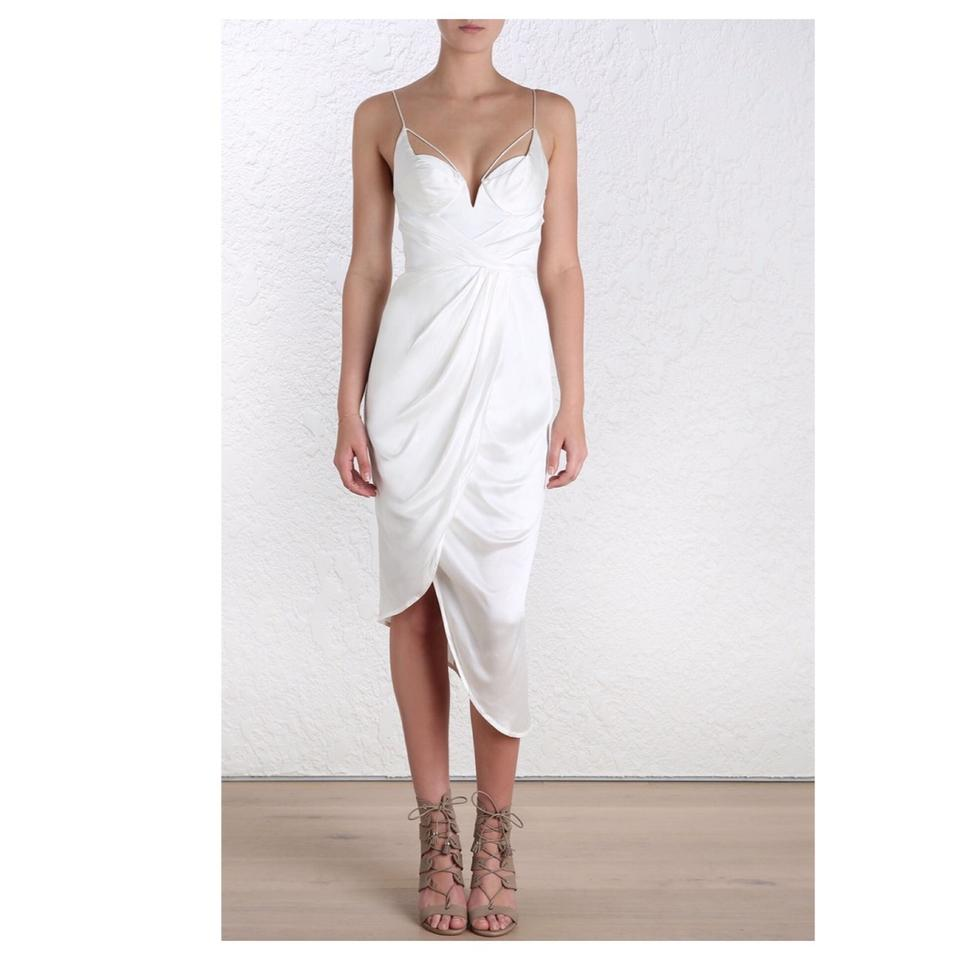 ZIMMERMANN Ivory White Sueded Balconette Mid-length Cocktail Dress ...