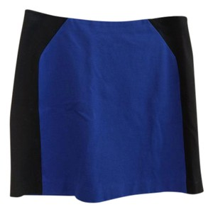 Ann Taylor Petite Color-blocking Stretchy Pencil Zip Skirt Bright blue and black