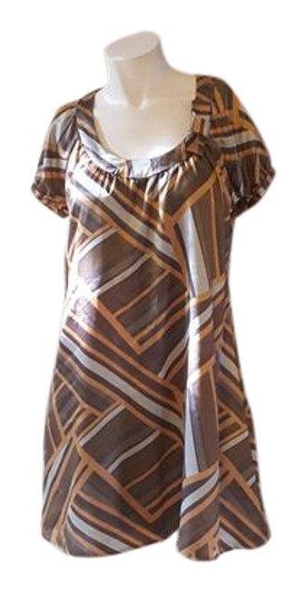 Item - Brown Tan Gray Striped Sleeve Short Cocktail Dress Size 8 (M)