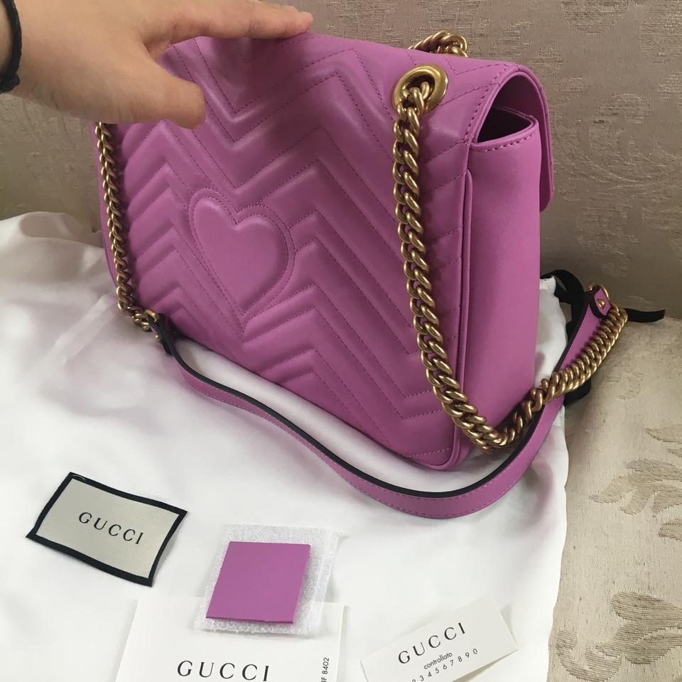 28e145e0b1c Gucci Marmont Gg Matelasse Medium Quilted Pink Leather Shoulder Bag ...