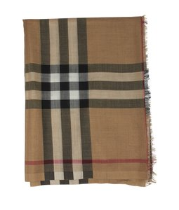 Burberry BURBERRY tan nova check wool and silk scarf
