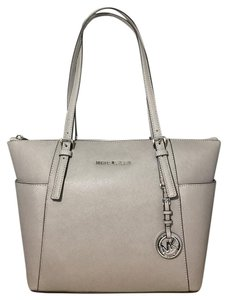 Michael Kors East West Zip Top Jet Set Travel Saffiano Leather Tote in Pearl Grey