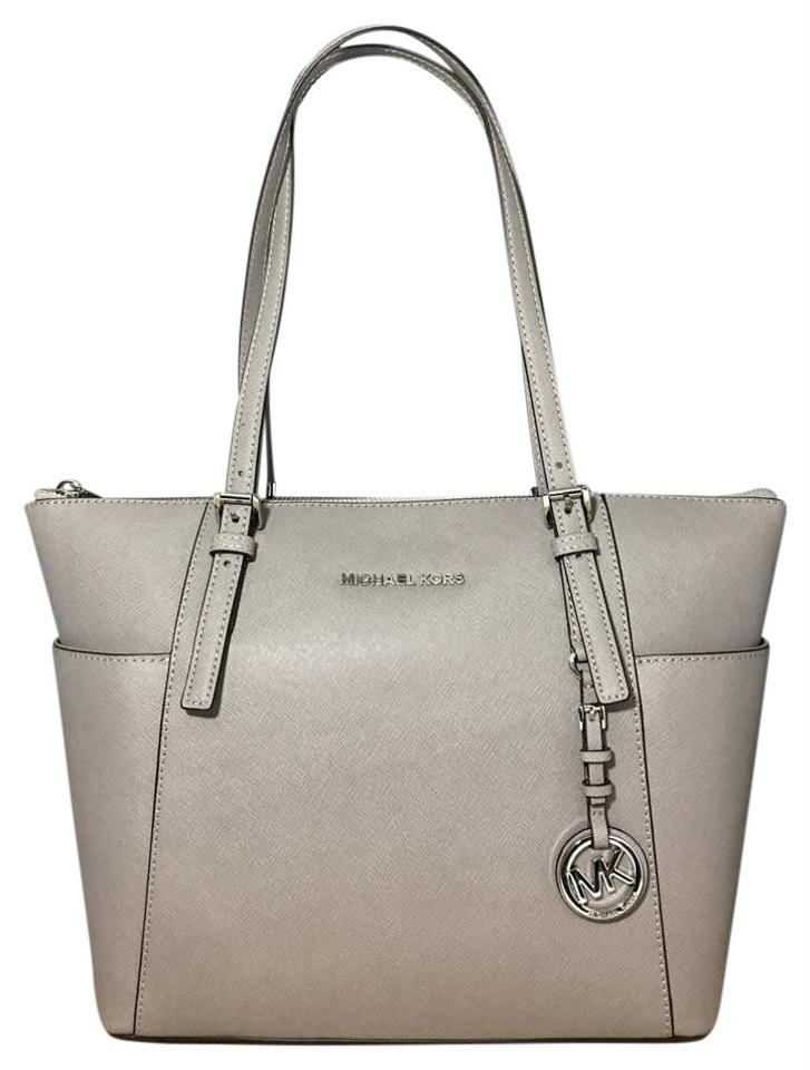 20abc2139c2d Michael Kors East West Zip Top Jet Set Travel Saffiano Leather Tote in  Pearl Grey Image ...
