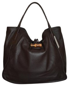 Gucci Leather Bamboo Tote in Brown