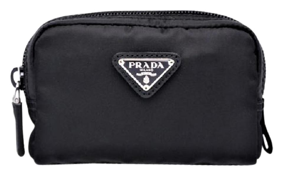 ba4d2dc2dd67 Prada Black Small Zip Pouch Msrp Sold Out Vela Nylon Cosmetic Bag ...