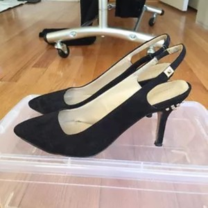 Zara Kitten Slingback Black Pumps