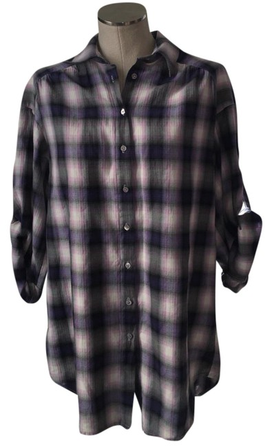 Vince Button Down Shirt Plaid purple pink Image 1