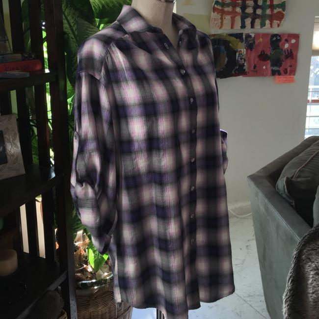 Vince Button Down Shirt Plaid purple pink Image 3