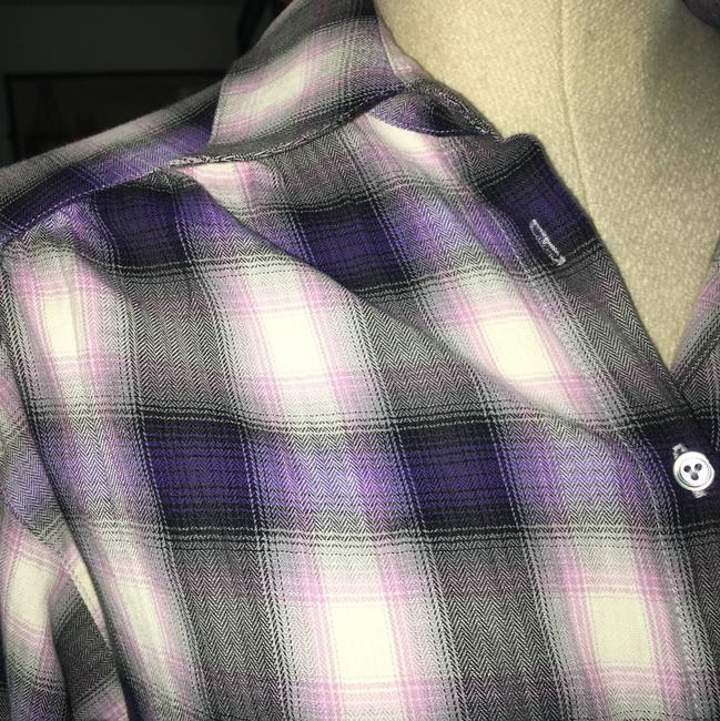 Vince Button Down Shirt Plaid purple pink Image 5