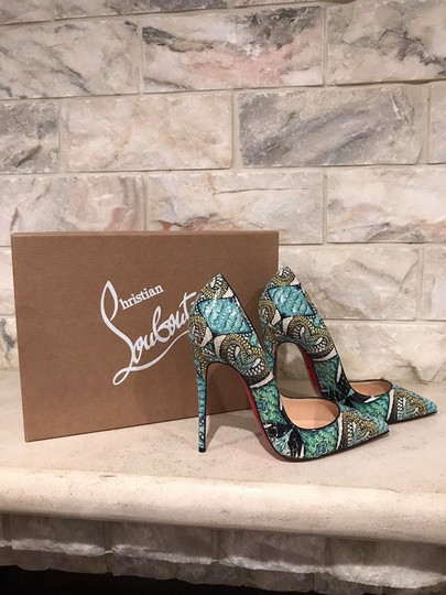Christian Louboutin Sokate Kate Stiletto Python Snakeskin blue Pumps Image 2