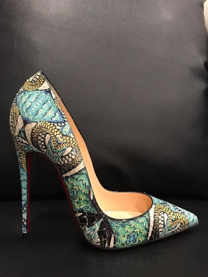 Christian Louboutin Sokate Kate Stiletto Python Snakeskin blue Pumps Image 3