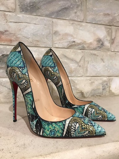 Christian Louboutin Sokate Kate Stiletto Python Snakeskin blue Pumps Image 4