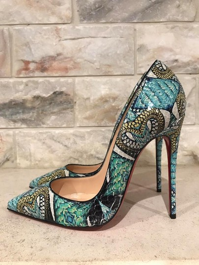 Christian Louboutin Sokate Kate Stiletto Python Snakeskin blue Pumps Image 9