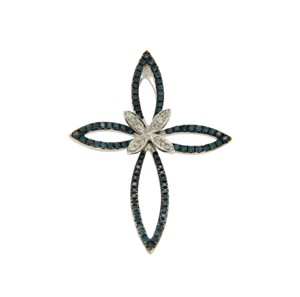 EFFY EFFY White And Green Diamonds 14K White Gold Butterfly Cross Pendant