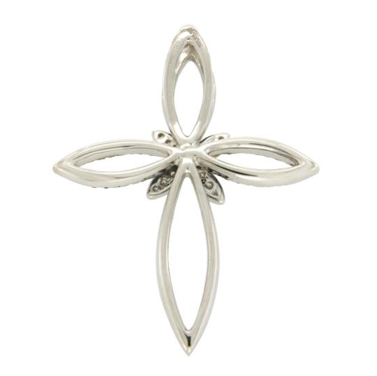 EFFY EFFY White And Green Diamonds 14K White Gold Butterfly Cross Pendant Image 1