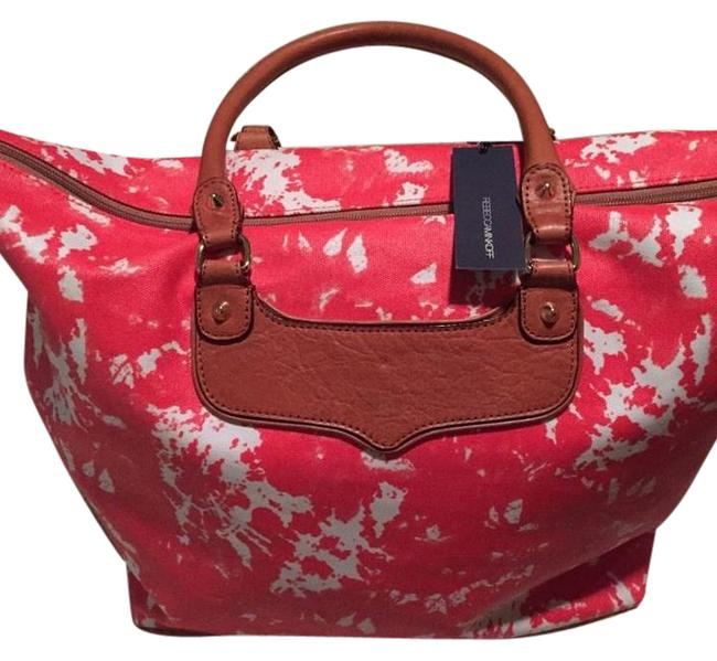 Item - New Tote Overnight Or Day Shopper Persimmon Canvas Leather Weekend/Travel Bag