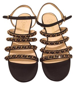 Chanel Gladiator Black w/ Gold Chain Sandals