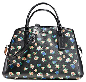 Coach Carryall Paent Leather Emossed Lether 34607 Satchel in SILVER/black MULTI