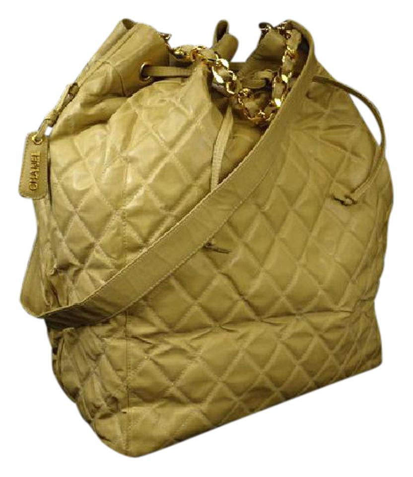 1226083fc01c Chanel Drawstring Hobo Quilted Jumbo 217632 Beige Rubber Shoulder ...