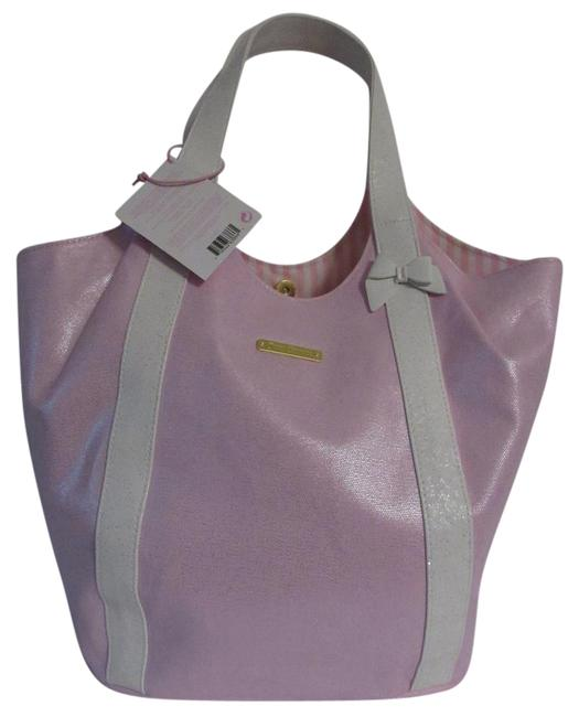 Item - Shoulder Bag Andwhite / Snap Closure Bow Detail Pink / White Coated Cotton Tote