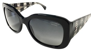 Chanel Black Sunglasses With Clear and Lace Temples