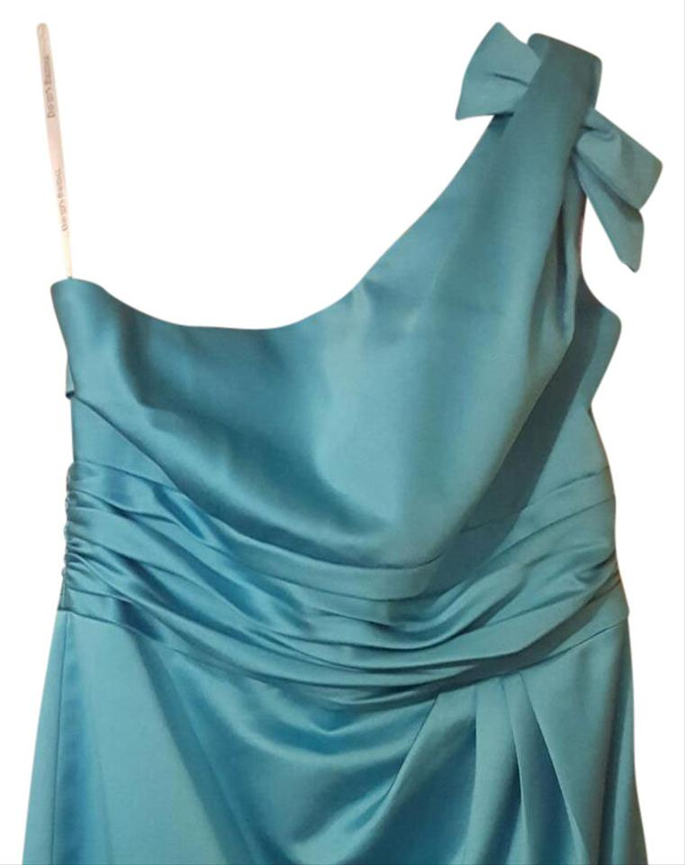 David S Bridal Malibu Blue Polyester 84333 Modern Bridesmaid Mob Dress Size 12 L 68 Off Retail