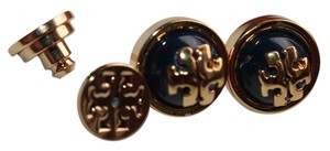 Tory Burch BRAND NEW TORY BURCH MELODIE STUD EARRINGS TORY NAVY SHINY BRASS STYLE #11145528
