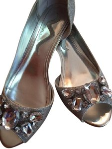 Nina Shoes Bridal Wedge Silver Luster Formal