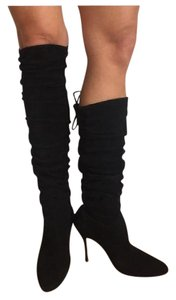 Manolo Blahnik Over The Knee Black Suede Boots