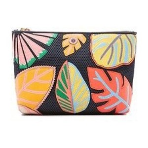 Tory Burch Tory Burch NWT LEAF APPLIQUE LARGE TRAPEZE COSMETIC CASE
