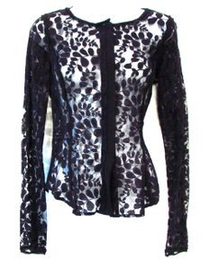 Rachel Roy Lace Sheer Tailored Fitted Top Black