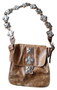 Charm and Luck Leather Rhinestones Shoulder Bag