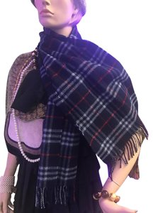 Burberry London Burberrys Of London Blue 100% Lambswool Check Fringe Scarf