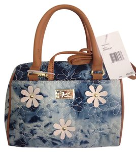 Betsey Johnson Nwt Floral Denim Satchel in Blue, White and Tan