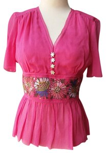 Cynthia Steffe Silk Embroidered Top Hot pink