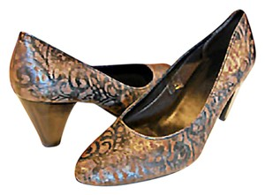 THE FLEXX Leather Comfortable Comfort Work Pewter metalic Pumps