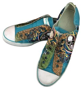 7cccf1eb3 Ed Hardy Aqua Yellow Pink White Blue Skull Slip-on Sneakers Sneakers ...