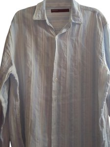 Perry Ellis Button Down Shirt Blue and White