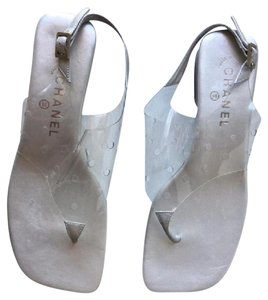 Chanel Transparent Clear Flats Leather Lucite Heels Silver Sandals