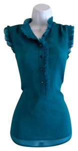 Violet & Claire High Neck Ruffled Teal Sleeveless Ruffles Top Blue