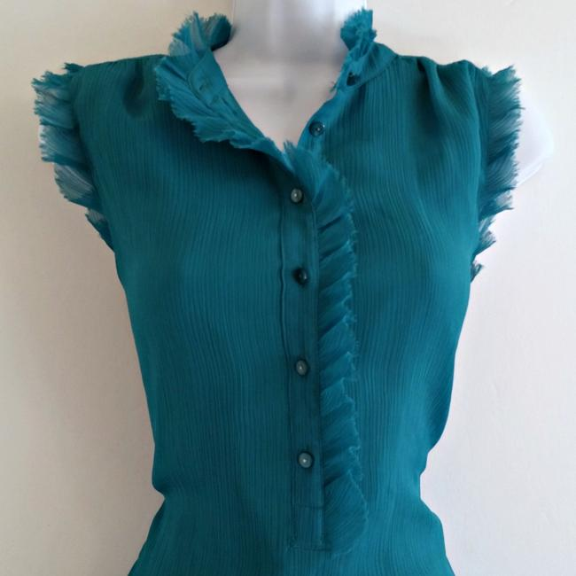 Violet & Claire High Neck Ruffled Teal Sleeveless Ruffles Top Blue Image 1