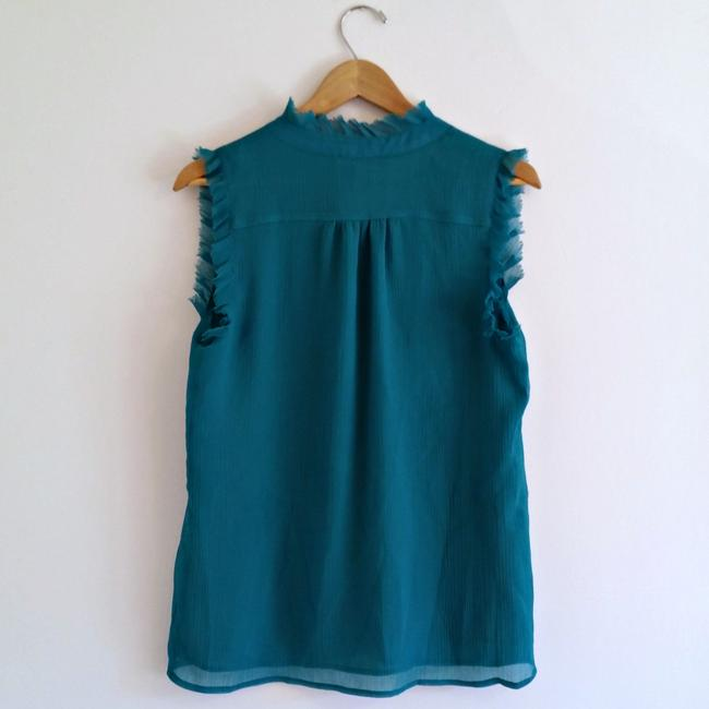 Violet & Claire High Neck Ruffled Teal Sleeveless Ruffles Top Blue Image 3