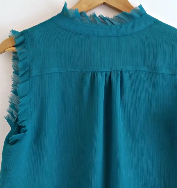 Violet & Claire High Neck Ruffled Teal Sleeveless Ruffles Top Blue Image 4